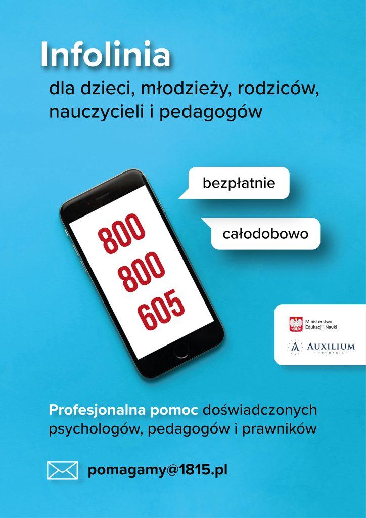 Infolinia dla dzieci, młodzieży, rodziców, nauczycieli i pedagogów - plakat